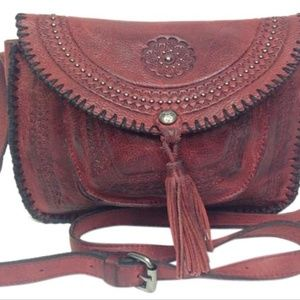 Vintage Red Distressed Beaumont Flap Crossbody